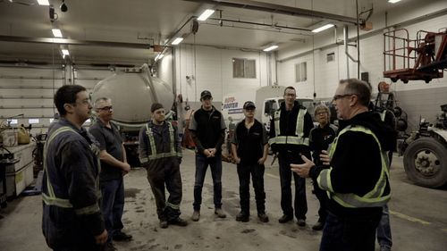safety meeting of kamloops commercial truck mechanic team at munden ventures